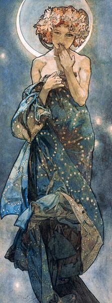 Alphonse Mucha - Étoiles : La lune.