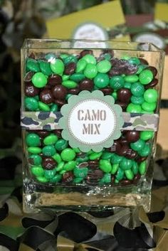 M&M camo mix. Cute centerpiece for wedding, baby shower, or birthday etc.
