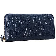 Heshe Womens Leather Wallets Long Zippered Around Handbag Card Case Holder Money Clip Wallet(Navy Blue)