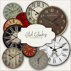 free clock printables. add some hardware. Modpodge to round cork or wooden circle. Voila! Cool clock.