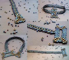 "beaded Cubism Bracelet Collage by beadg1rl. Bracelet handwoven in St. Petersburg Stitch using Delica cube beads, matte 8/o and matte 15/o seed beads. The clasp is made from two of the shapes in Diane Fitzgerald's ""Shaped Beadwork"" book."