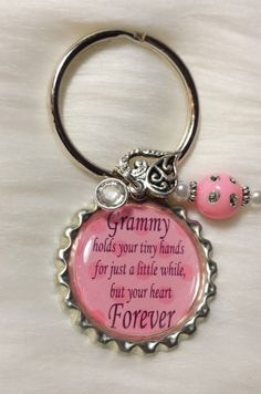 Grandma Keychain with quote Birthstone Dangle by HAZELCOVE on Etsy, $13.00