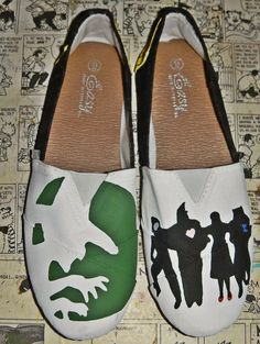 wizard of oz silhouettes | Wizard of Oz - Slip on House shoes canvas custom painted wicked witch ...