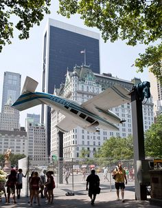 the milan-born and now alaska-based artist paola pivi has conceived of 'how I roll' an art installation for new york city's public art fund. the artwork features  an endlessly turning six-seat piper seneca plane held aloft by its wings joined to two steel columns and powered by a strong motor system. pivi's piece is open  to the public twenty-four hours a day, made secure by a chain-link fence encircling the entirety of the plane's 360 degree range of motion. 'how I roll' is displayed