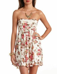 Bow-Back Floral Lace Skater Dress: Charlotte Russe