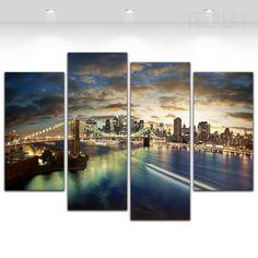 Brooklyn Bridge Painting - 4 Piece Canvas-Canvas-TEEPEAT