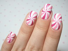 pink lollipop nail art OR USING REDS AND IT IS A PEPPERMINT FOR XMAS