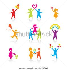 Set of Icons - Silhouette family. woman, man, kid, child, boy, girl, father, mother, parents symbol. People vector. - stock vector