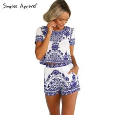 Cheap romper newborn, Buy Quality porcelain crucible directly from China porcelain fuse Suppliers:          Simplee Apparel 2015 new arrival Two piece floral print short jumpsuit Women crop top playsuit Vint