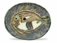 THE ARTHUR AND ANITA KAHN COLLECTION: A NEW YORK STORYPablo Picasso (1881-1973) Poisson chiné (A.R. 170) stamped 'Madoura Plein Feu/Empreinte Originale de Picasso' (underneath) partially glazed ceramic plate Length: 16 5/8 in. (42.2 cm.) Conceived in 1952 and executed in an edition of 200