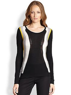 Diane von Furstenberg Abstract Wool Intarsia Sweater