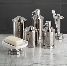 Chatham accessories tissue holders soap dishes toothbrush holders restoration hardware for Polished chrome bathroom countertop accessories