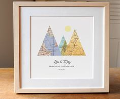 """3 Map Mountain Personalized Wedding Gift Art Print. This sweet print makes the perfect unique and thoughtful gift. Perfect for a wedding gift, anniversary gift, engagement gift, or just for personalized decor in your own home. This print is 8x8"""". Choose any three cities in the world! We have a vast resource of maps to use, so even small towns are no problem most of the time. Note the scale of the maps in the photos -- your maps will likely be the same scale, so if your town is small…"""