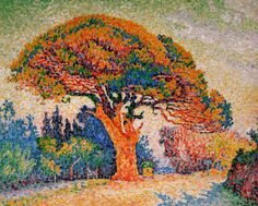 Pine Tree at St. Tropez by Paul Signac./ Artist George Seurat called pointillism a science of color. Pointillism is the creating of illusions using dots and colors placed very closely together. This blogger asks - How many dots does it take? How close together do they need to be? Are some colors unpredictable? How many colors will it take to truly achieve the effect? Visit her blog to see what she discovered! And conduct your own art experiment!