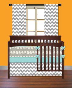 Elephants and Chevron Boys 3 Piece Crib Bedding Set by idbaby, $255.00