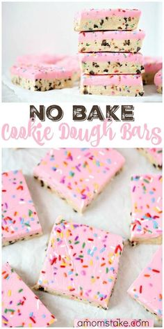 So delicious, these no bake cookie dough bars are easy to make and no baking req. So delicious, these no bake cookie dough bars are easy to make and no baking required! You& love this easy cookie bar dessert with sprinkles! Valentine Desserts, Köstliche Desserts, Delicious Desserts, Healthy Desserts, Awesome Desserts, Easy Bake Desserts, No Bake Snacks, Birthday Desserts, No Bake Summer Desserts
