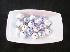 5 Purple/ Pink Flower Ceramic Beads 12mm High Quality by WNBrunk  #ceramic #bead #beads #beading #craft #jewelry #jewelrymakers