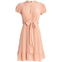 REDValentino Bottom Ruffle Dress ($765) ❤ liked on Polyvore featuring dresses, nude, nude dress, red valentino dress, short-sleeve dresses, red short sleeve dress and stripe dress