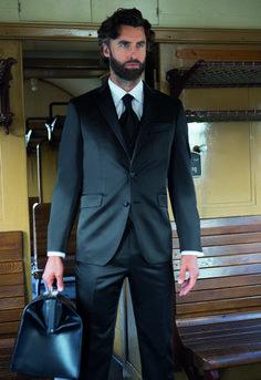 Čierny svadobný oblek svadobný salón valery Salons, Suit Jacket, Breast, Suits, Jackets, Fashion, Down Jackets, Moda, Lounges