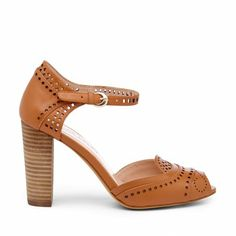 Women's Luggage Leather 3 1/2 Inch Laser Cut Heel | Bettie by Julianne Hough