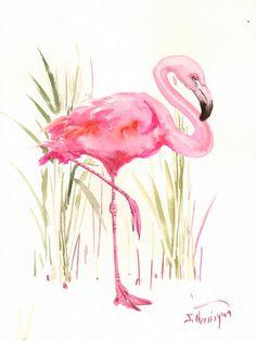 Flamingo Original watercolor painting 14 X 11 in by ORIGINALONLY