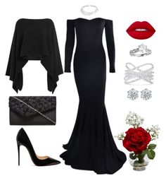 """""""Black Gown Red Rose"""" by susan0219 ❤ liked on Polyvore featuring Lime Crime, Nearly Natural, Christian Louboutin, Donna Karan, Effy Jewelry and Messika"""