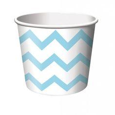 Chevron Stripe ice cream Cup, Pastel Blue/White. 9 oz. | 6 ct