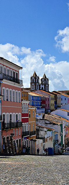 Pelourinho, Salvador de Bahia, Brazil. Salvador is known for its Portuguese colonial architecture, Afro-Brazilian culture and tropical coastline. The Pelourinho neighborhood is its historic heart, with cobblestone alleys opening onto large squares, colorful buildings and baroque churches such as São Francisco, featuring gilt woodwork. Capoeira martial artists and Olodum drummers perform on the winding streets.