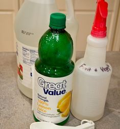 Here's what you'll need to make your very own Produce Cleaner:  1 TBS Lemon Juice  3 TBS White Vinegar  3 Cups of Water  Spray bottle (I bought mine from Target for $3)