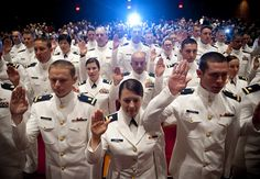 Officer candidates are advanced to the rank of ensign during a graduation ceremony Wednesday, May 2, 2012, at the U.S. Coast Guard Academy in New London, Conn. U.S. Coast Guard photograph by Chief Petty Officer NyxoLyno Cangemi #coastie #coastguard