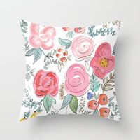 Throw Pillows featuring Watercolor Floral Print by Jenna Kutcher