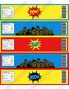 DIY Super Hero Birthday Printable Party Water Bottle labels blue red yellow city towers- Cupcake Express. $4.50, via Etsy.