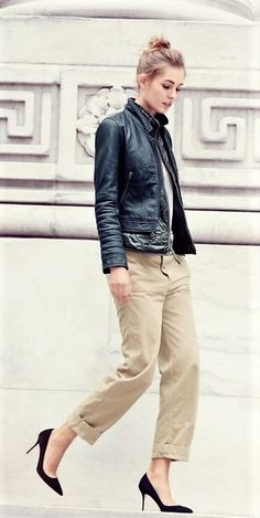 Leather jacket, chino pants effortless style