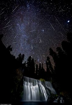 AMAZING!!! the sky at night at McCloud Falls in northern CA.                                          quite a meteor shower!