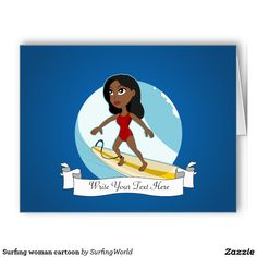 Surfing woman cartoon large greeting card