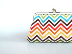 Colorful chevron clutch pursezig zag by craftsbynesli on Etsy, $24.00....could finally find a clutch in my big purse!!