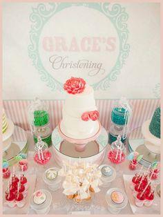 Beautiful Girl's Christening Dessert Table