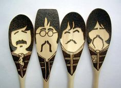 Pepper Moustache Spoons - Wooden - Set of 4 Beatles Sgt. Pepper Moustache Spoons - Wooden - Set of 4 Beatles A new twist on my set of moustac… Wood Burning Crafts, Wood Burning Patterns, Wood Burning Art, Beatles Gifts, Les Beatles, Spoon Art, Wood Spoon, Wooden Spoon Crafts, Wood Crafts