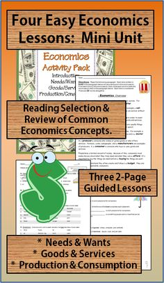 ECONOMICS ACTIVITIES COMBO PACKET: 8 NO PREP Printables~ Fun, easy, and ready-to-use! Compiles three other products. Includes activities for teaching introduction to economics, needs/wants, goods/services, and production/consumption. Print and go!  $
