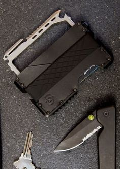 Dango Products TACTICAL WALLET + MULTI-TOOL in Jet Black Leather  Jet Black Anodized Aluminum