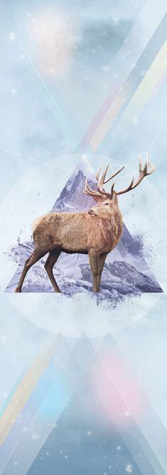 Dear Deer, Greg Guilland #deer #hipster #triangle #minimalism