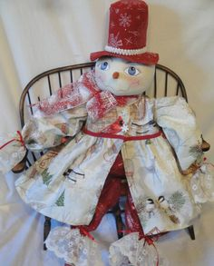 Red SilverSnow Lady Art Doll Snowflake by MorningMistDesigns