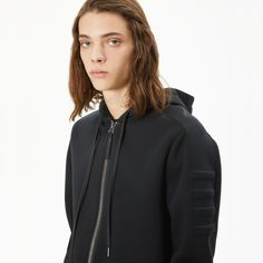 An Italian sponge fleece hooded sweatshirt with taped sleeve detailing from the Perennial collection.