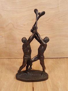 Vtg Cold Cast BRONZE STATUE ~ IRISH Sport of HURLING ~ Genesis Fine Arts Ireland #Realism #bronze #statue #genesis #ireland #hurling #sports