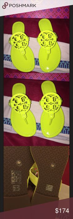 🌻NEW TORY BURCH MILLER NEON PATENT CALF sandal 💥NO TRADES💥 BRAND SPANKING NEW. SHIPS ASAP. WOMENS SIZE 5. Neon yellow comes with box & dust bag. Tory Burch Shoes Sandals