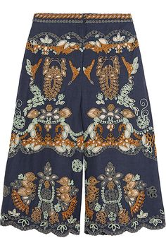 Valentino|Embellished linen culottes|NET-A-PORTER.COM