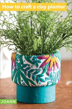 Here's a craft with form and function. This clay planter is not only perfect for you plants, it's also beautiful and fun to make. Win, win! Clay Planter, Planters, Sewing Projects, Craft Projects, Craft Ideas, Easter Projects, Alcohol Ink Painting, Easter Celebration, Joanns Fabric And Crafts