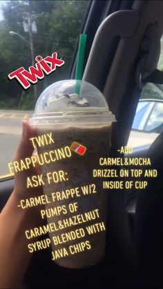 Twix Frappe Secret menu item from Starbuck. - - Twix Frappe Secret menu item from Starbuck… yellowpick Twix Frappe Secret menu item from Starbucks -plus it is super good Starbucks Flavors, Starbucks Cookies, Healthy Starbucks Drinks, Yummy Drinks, Starbucks Hacks, Starbucks Secret Menu Items, Starbucks Secret Menu Drinks, How To Order Starbucks, Frappuccino Recipe