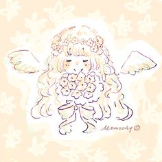 08 Girls With Flowers, New Year Card, Angel Art, Kawaii Anime Girl, Ghibli, Pattern Design, Doodles, Sketches, Drawings