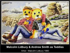Nov 1989 Malcolm met Andrew.  They were life partners up until Andrews death as a result of HIV/AIDS (aged 29) in Dec 1996. Malcolm & Andy as Teddies painted by Lidbury (C 1990). #LGBT  http://www.lgbthistorycornwall.blogspot.com